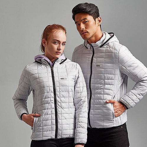 Vegan women's jacket honeycomb in white from Vegan Happy Clothing with subtle vegan logo