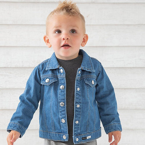 Vegan Denim jacket for toddlers with subtle vegan logo from Vegan Happy Clothing