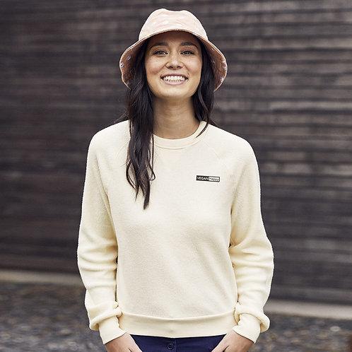 Vegan Women's Eco-Teddy Inside-Out Fleece Sweatshirt with subtle vegan logo from Vegan Happy Clothing