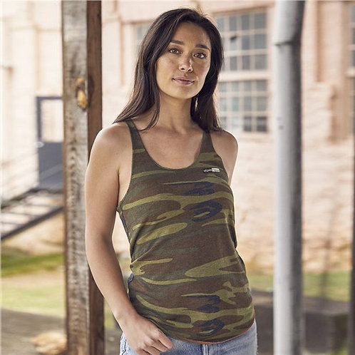 Vegan Women's Printed Meegs Eco Jersey Racerback Tank in olive camo with subtle vegan logo from Vegan Happy Clothing