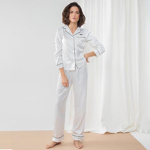 Vegan Women's Satin Long Pyjamas in white with subtle vegan logo from Vegan Happy Clothing