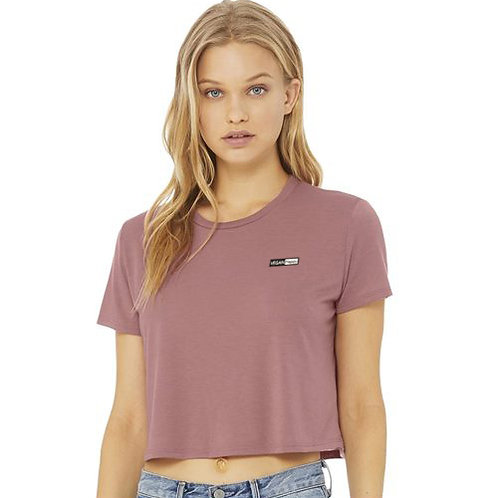 Women's Flowy Cropped Tee with subtle vegan logo from Vegan Happy Clothing in 8 colours