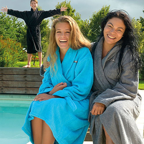 Vegan Luxury Unisex Bath Robe with Shawl Collar in 9 colours with subtle vegan logo from Vegan Happy Clothing