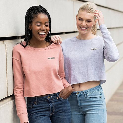 Vegan Women's Cropped Sweatshirt with subtle vegan logo from Vegan Happy Clothing