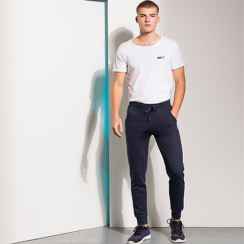Vegan Men's Slim Cuffed Joggers in 3 colours with subtle Vegan Happy logo to the side