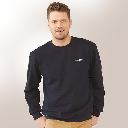 Vegan Men's Crewneck Sweatshirt with subtle vegan logo from Vegan Happy Clothing in 18 colors