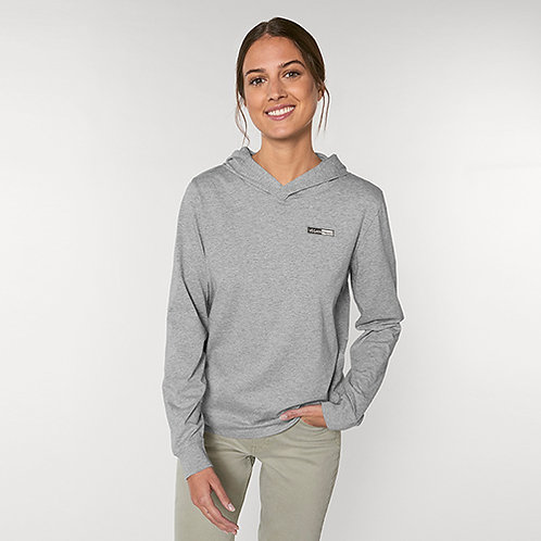 Vegan T-shirt Hoodie unisex with subtle vegan logo from Vegan Happy Clothing in heather grey