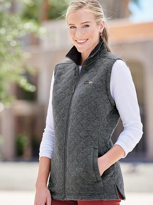 Vegan Women's Quilted Full Zip Vest with subtle vegan logo from Vegan Happy Clothing
