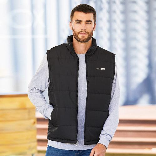 Vegan Men's Puffer Vest in 5 colours with subtle vegan logo from Vegan Happy Clothing