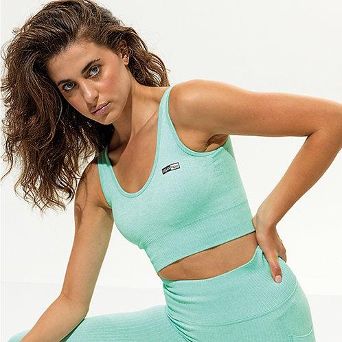 Vegan Workout Bra - Women's TriDri Ribbed Seamless Multi-Sport in mint with subtle vegan logo from Vegan Happy Clothing