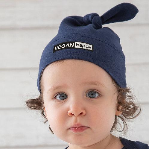 Vegan Babies One-Knot Hat with subtle vegan logo from Vegan Happy Clothing