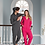 Vegan lounge wear onesie, shown here in bright pink and charcoal for vegan men and women