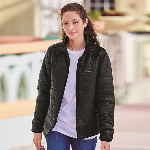 Vegan Women's Puffer Jacket with subtle vegan logo from Vegan Happy Clothing