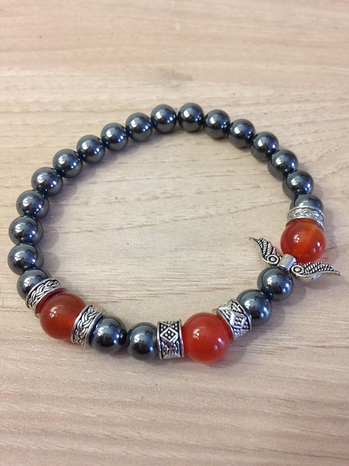 Bracelet Hématite et Cornaline