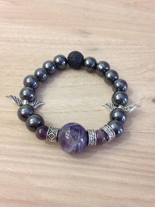 Bracelet Hématite et Améthyste