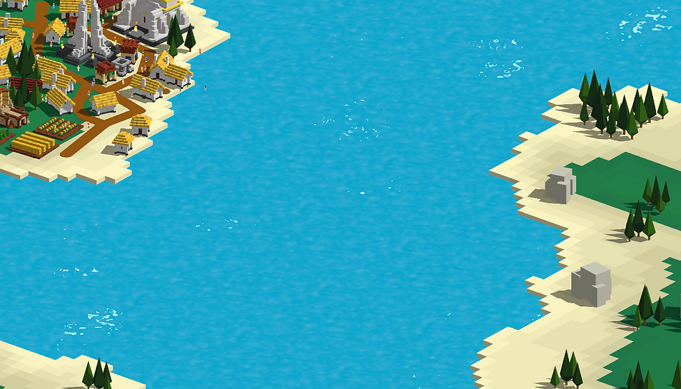 An image of a town and lake in Creo God Simulator
