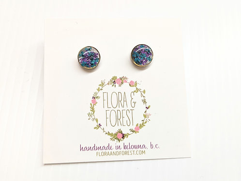 Flora and Forest - Blue & Purple Floral Studs