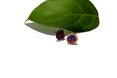 Flora and Forest - Pink & Blue Floral Circle Studs