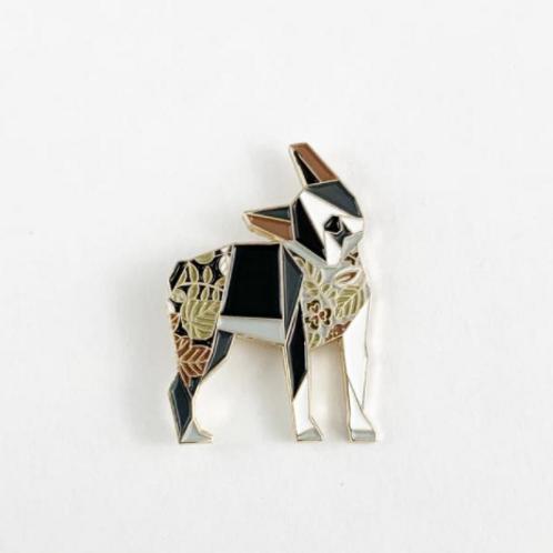 FoldIT Creations - Enamel Origami Boston Terrier Pin