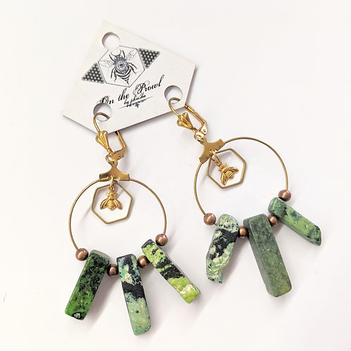 Phresha - Rainforest Green Jasper Earrings