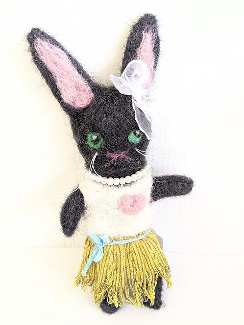 Rare Bird - Black Bunny Soft Sculpture