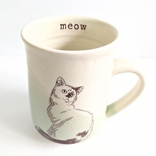 Tiny Cat Pottery - Large Mint Le Chat Mug