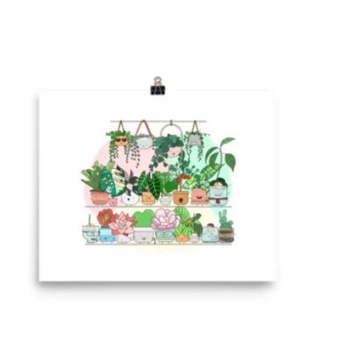 Home By Faith - 'Big Plant Shelfie' Print