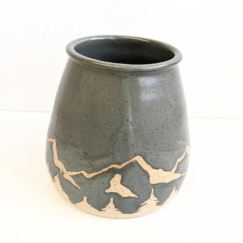 Prairie Willow Pottery - Charcoal Mountains Vase