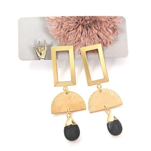 Cat D.esigns - Onyx & Brass Earrings