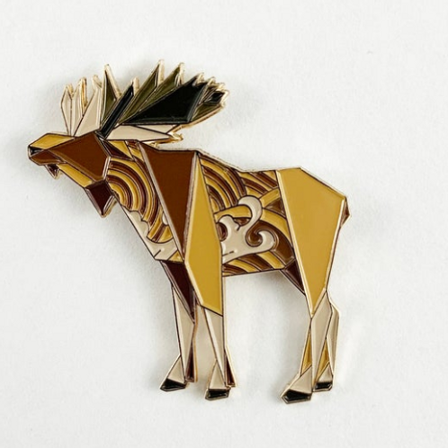 FoldIT Creations - Enamel Origami Moose Pin