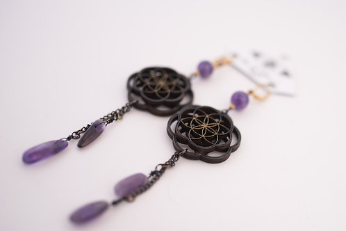 Phresha - Wooden Sacred Geo Earrings with Amethyst