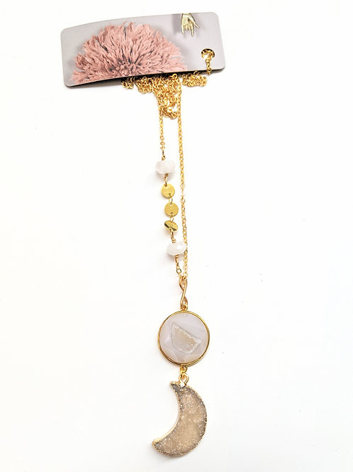 Cat D.esigns - Champagne Druzy Luna Necklace