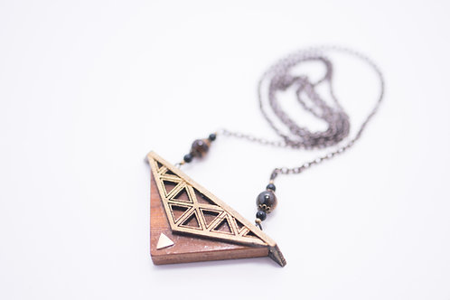 Phresha - Small Wooden Triangle Necklace