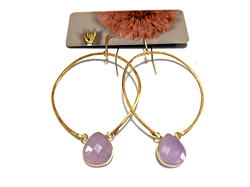 Cat D.esigns - Rose Quartz Hoop Earrings