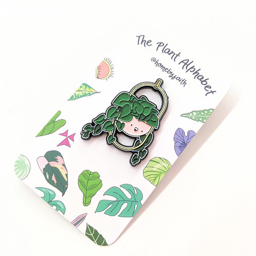Home By Faith - Enamel Heart Leaf Philodendron Plant Buddy Pin
