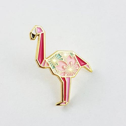 FoldIT Creations - Enamel Origami Flamingo Pin