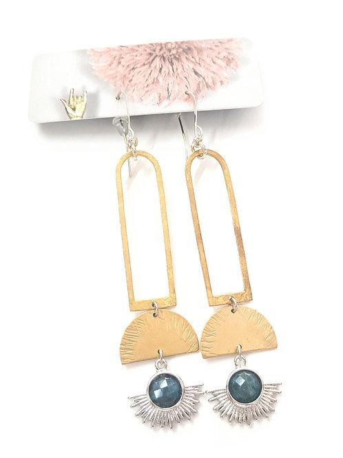 Cat D.esigns - Apatite & Brass Earrings