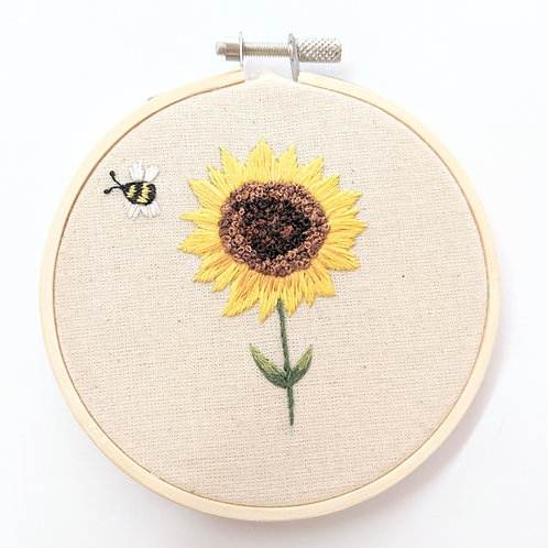 Embroider Tea - Embroidered Sunflower Wall Hanging
