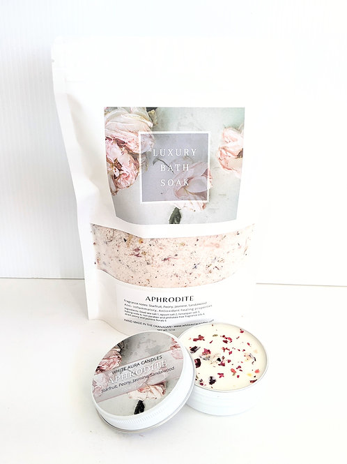 White Aura Candles - Aphrodite Bath Salts & Candle Set