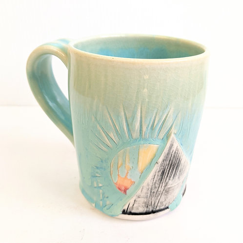 Lisa Martin Pottery - Short Teal Mountain Mug