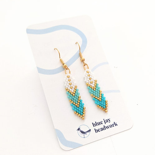 Blue Jay Beadwork - Mini Beaded Feather Earrings