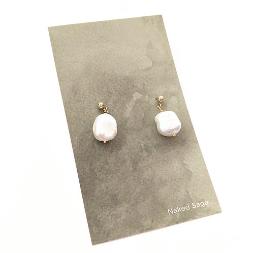 Naked Sage - Gold Pearl Earrings