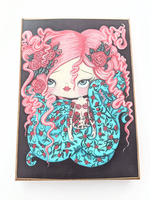 The Poppy Tree - Floral Octo Girl Print on Wood