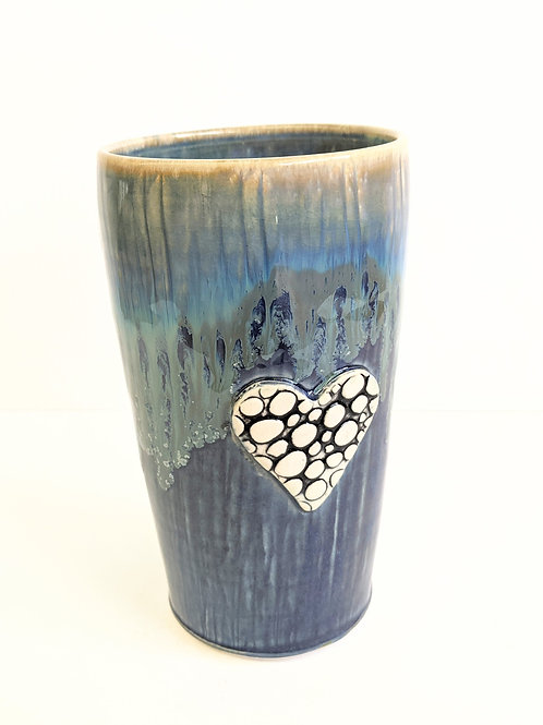 Lisa Martin Pottery - Blue Pebble Heart Mug