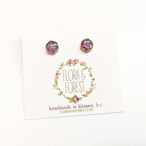 Flora and Forest - Pink & Blue Floral Studs
