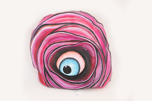 Rare Bird Art - Pink Rose Eyeball Pillow