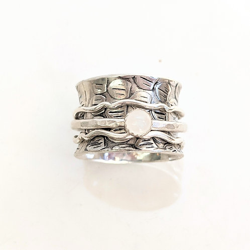 Bent Wire Jewelry - Silver Moonstone Spinner Ring