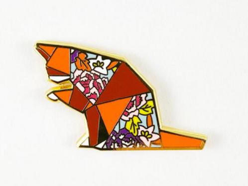 FoldIT Creations - Enamel Origami Tabby Pin