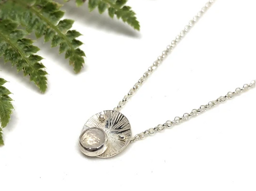 Naked Sage - Silver Moonstone Mandala Necklace