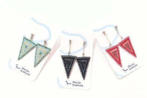 Blue Jay Beadwork - Beaded Triangle Dangly Studs